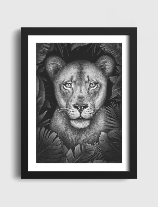 Lioness in tropical leaves - Art Frames