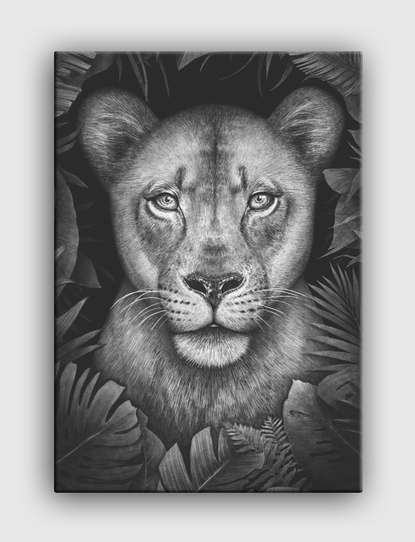 Lioness in tropical leaves Canvas