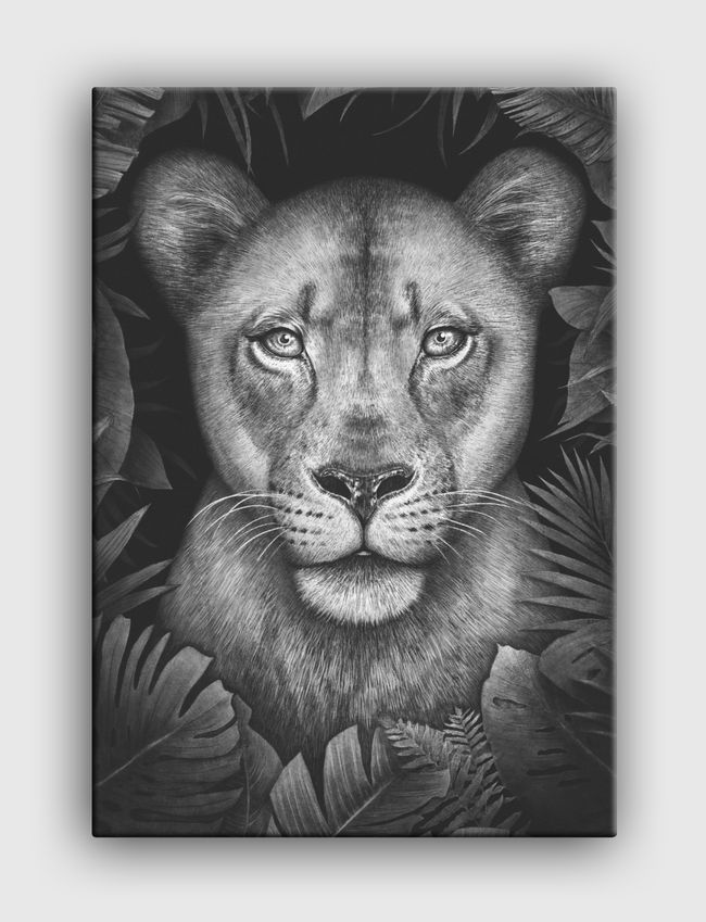 Lioness in tropical leaves - Canvas