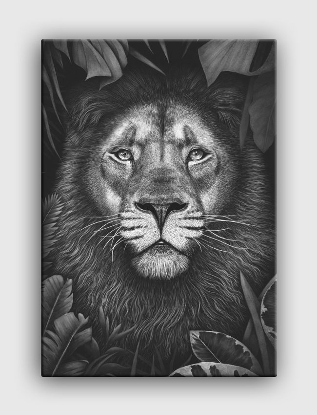 Lion in tropical leaves - Canvas